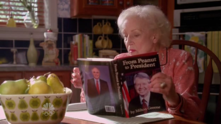 "Betty White reading ""From Peanut To President"" by Milton Greene"